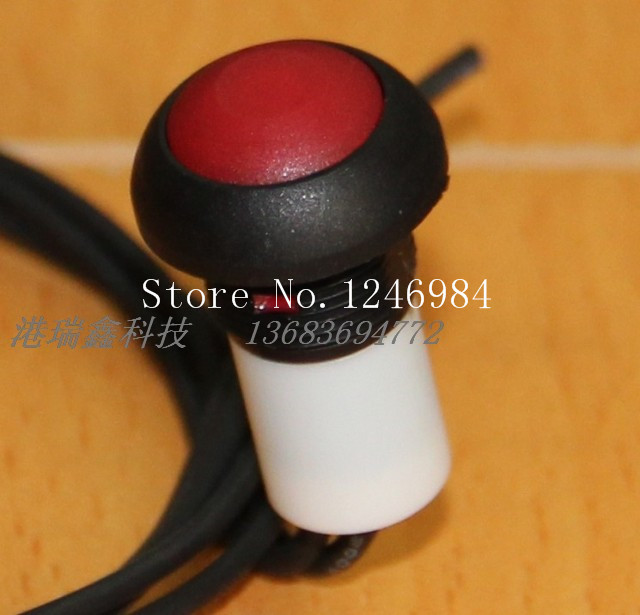 [SA]M12 waterproof Taiwan Deli Wei PAS6 switch reset button with a red line round without lock button switch--20pcs/lot<br><br>Aliexpress