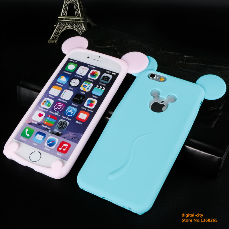 Interesting Cartoon Character Removable Mouse Model Soft Silicone phone back cover for iphone6 6s 4.7 inch cases free shipping(China (Mainland))
