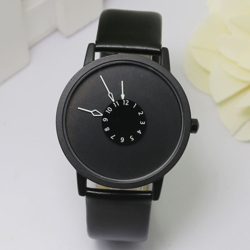 New Product Personality Concept Wrist Second Disc Invisible Watch Quartz Mechanism Waterproof Design Men And Women Joker(China (Mainland))