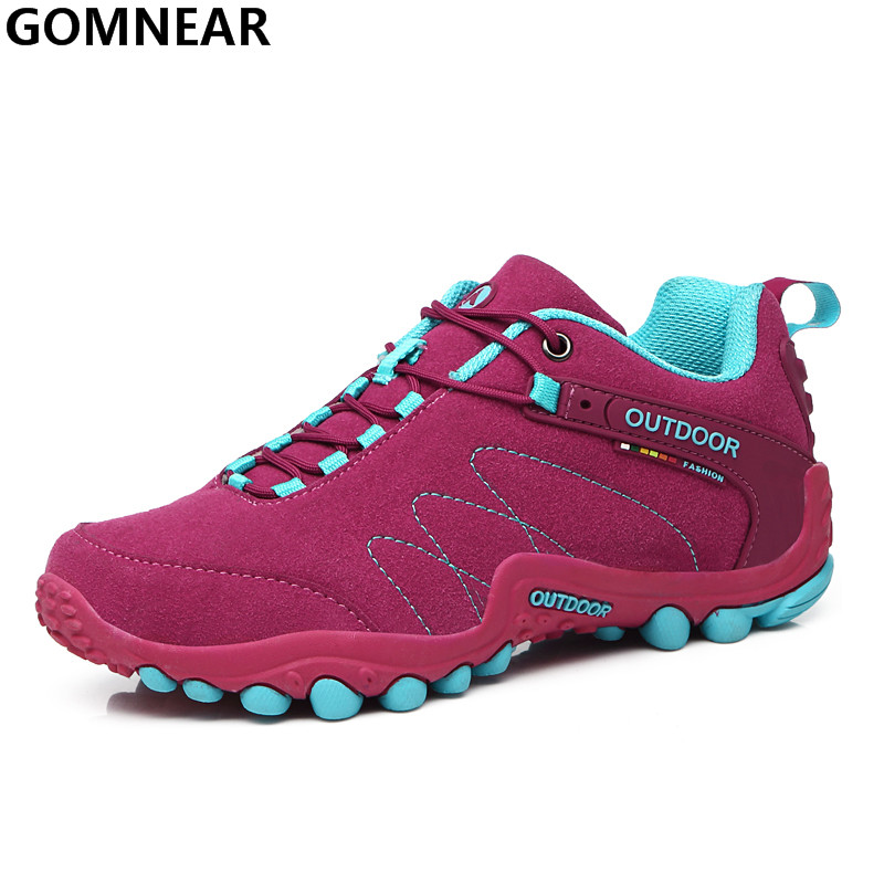 GOMNEAR Popular Women's Hiking Shoes Outdoor Trend Walking Climbing Athletic Shoes Breathable Lightweight Tourism Athletic Shoes(China (Mainland))