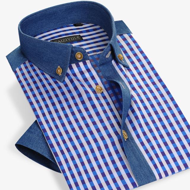Лето стиль мужчины клетчатую рубашку хлопок короткий рукав рубашка свободного покроя ...