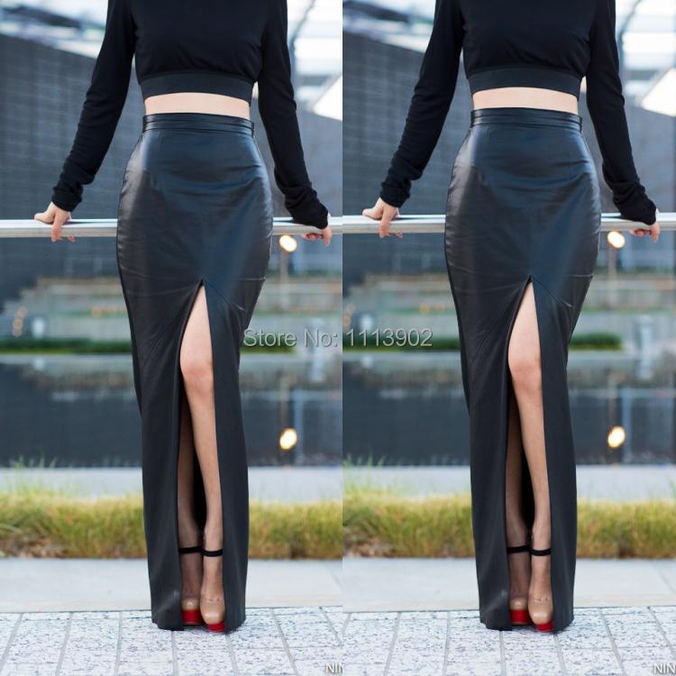 2017 Faux Leather Asymmetrical Long Skirts 2015 New Fashion Lady ...