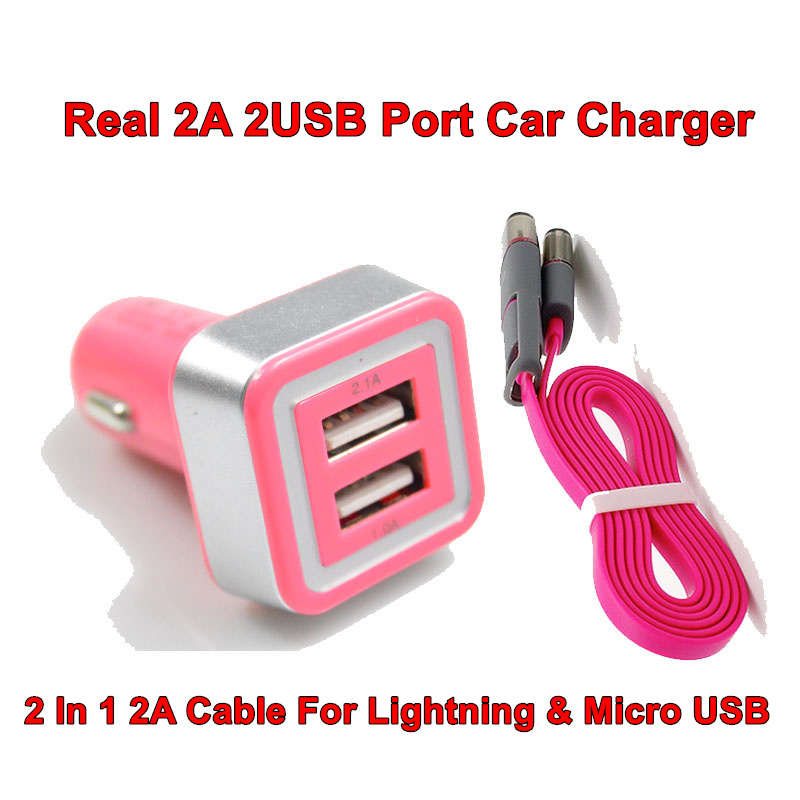 High Quality LED Car-charger Real 2A 2 USB Car Charger Power Adapter + 2 in 1 2A Charging Cable For Micro USB And For Iphone 6 5(China (Mainland))