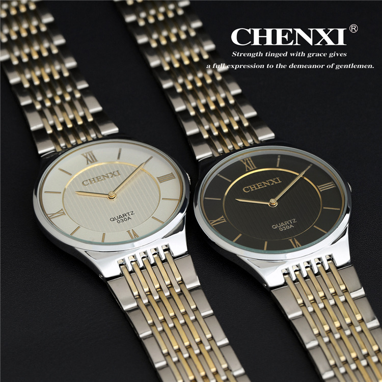 CHENXI Brand Watches Men Watch Slim Quartz Stainless steel Watch 3 Colors CX 030A
