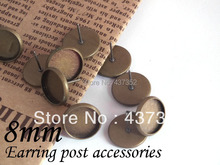 Bulk! 1000piece/lot Antique bronze earring post with pad 8mm bezel blank