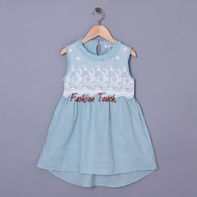 2016 Girl Dress Green Lace O-neck Baby Embroidered One Piece Frock Dresses Children Birthday Costume GD50325-9^^FT  -  Fashion Touch store