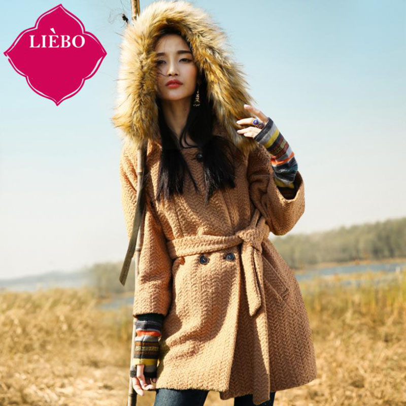 Crack silk 2014 Winter Hoodie plain colored faux raccoon fur collar long coat warm coat women 5314022WОдежда и ак�е��уары<br><br><br>Aliexpress