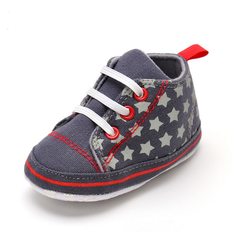 2016 spring new 11-13cm infant baby toddler shoes casual canvas stars first walk shoes lace-up soft sole sneaker for baby boys(China (Mainland))