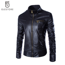 New Arrival Men's Clothing Casual Slim Motorcycle Leather Jackets Male Pu Leather Turtleneck Jacket Men's Outerwear