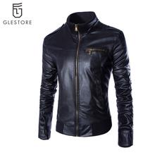 Pria kedatangan baru pakaian, Kasual ramping jaket kulit sepeda motor, Pria laki-laki Pu kulit Turtleneck jaket, Pria pakaian luar