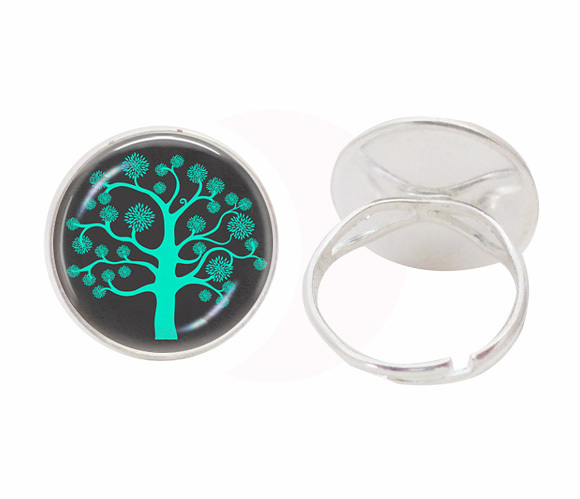 Green tree of life ring wisdom tree jewelry glass dome gem pendant adjustable finger ring lovers wedding gifts women jewellery(China (Mainland))