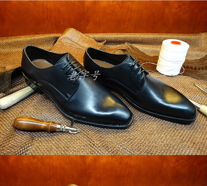 Goodyear Craft Genuine Calf Leather Men's Oxford Hand Made Shoes Men Wedding Classic Formal Black Wedding Dress Shoes US10(China (Mainland))