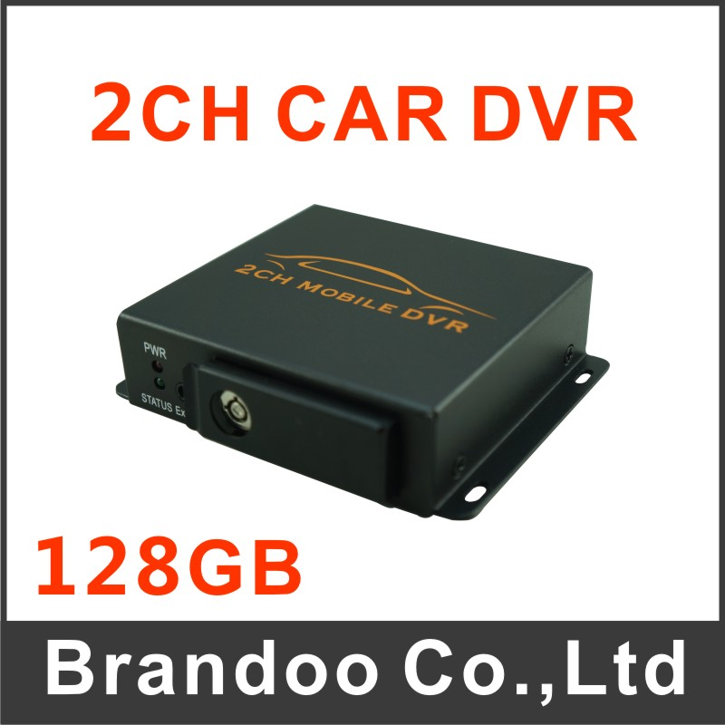 Mini Security CCTV 2CH DVR Realtime SD 128GB Card Recording Mobile Bus Vehicle Truck Car DVR Recorder System 2ch Audio with Lock(China (Mainland))