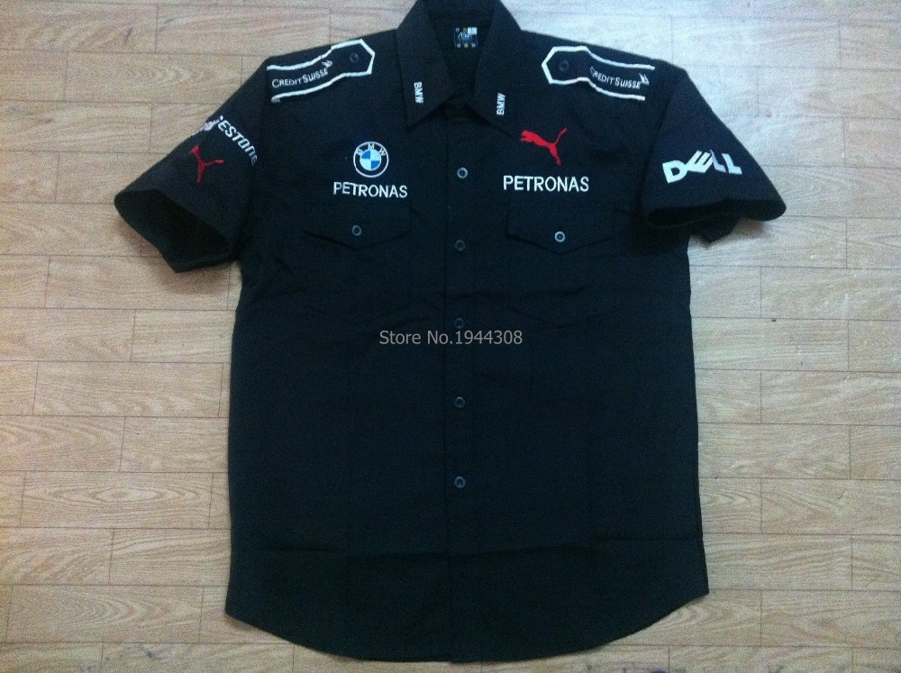 F1 Short Sleeve Shirts GSN NASCAR Motorcycle Shirts for PETRONAS Car Team Embroidery Cotton coat(China (Mainland))