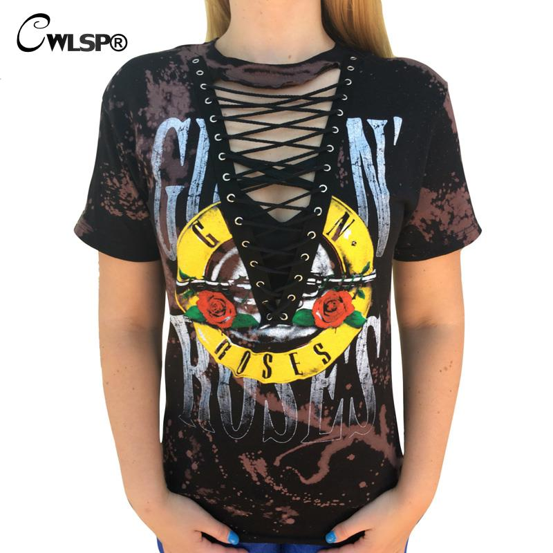 CWLSP 2017 GUN N ROSES Print T Shirt Women American Rock Music Festival Tops Hollow V Neck Tees lace kawaii t-shirt