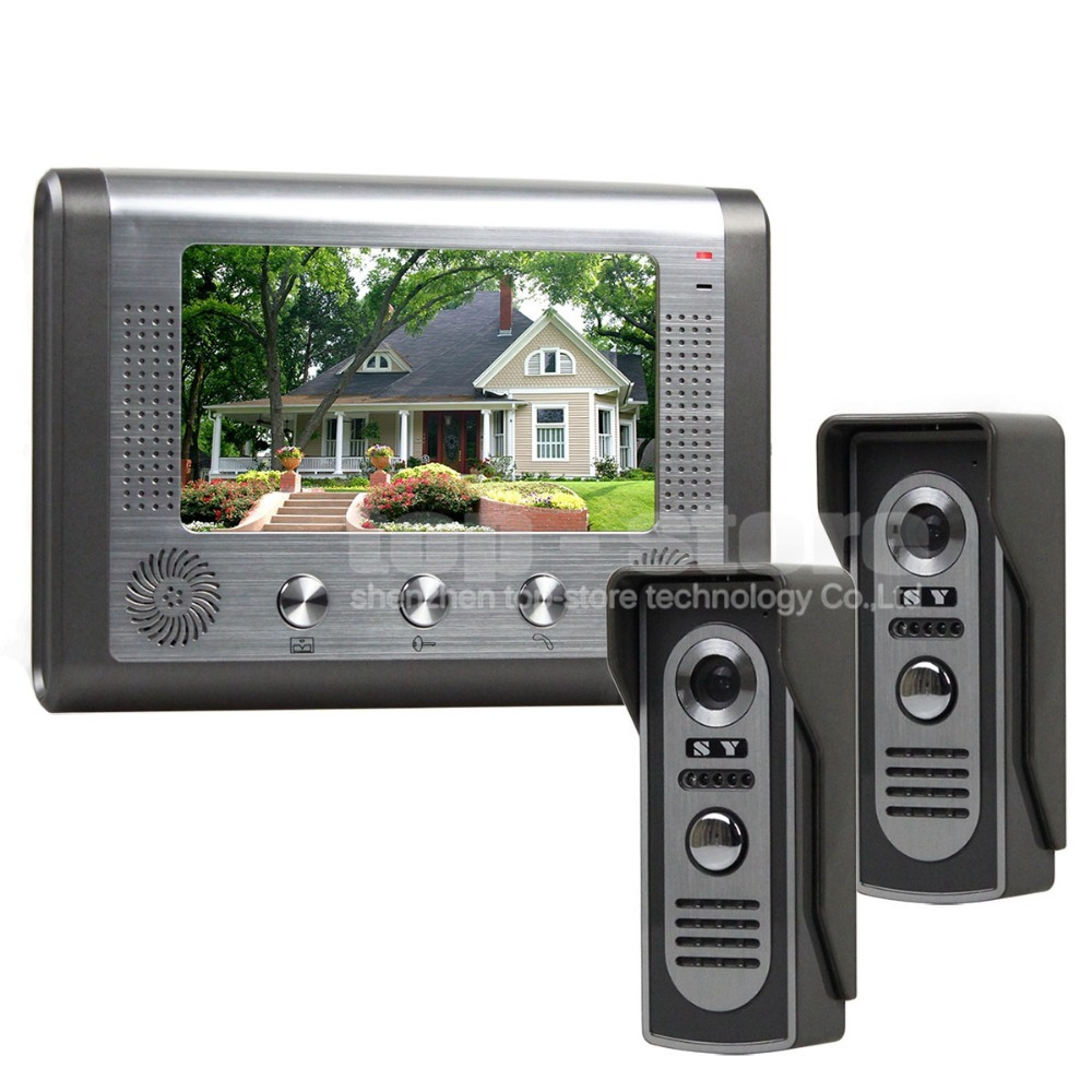 DIY 1 Monitor 2 Cameras Wired Video Door Phone System Home Security Entry 2 Way Intercom IR Cameras SY801M21(China (Mainland))