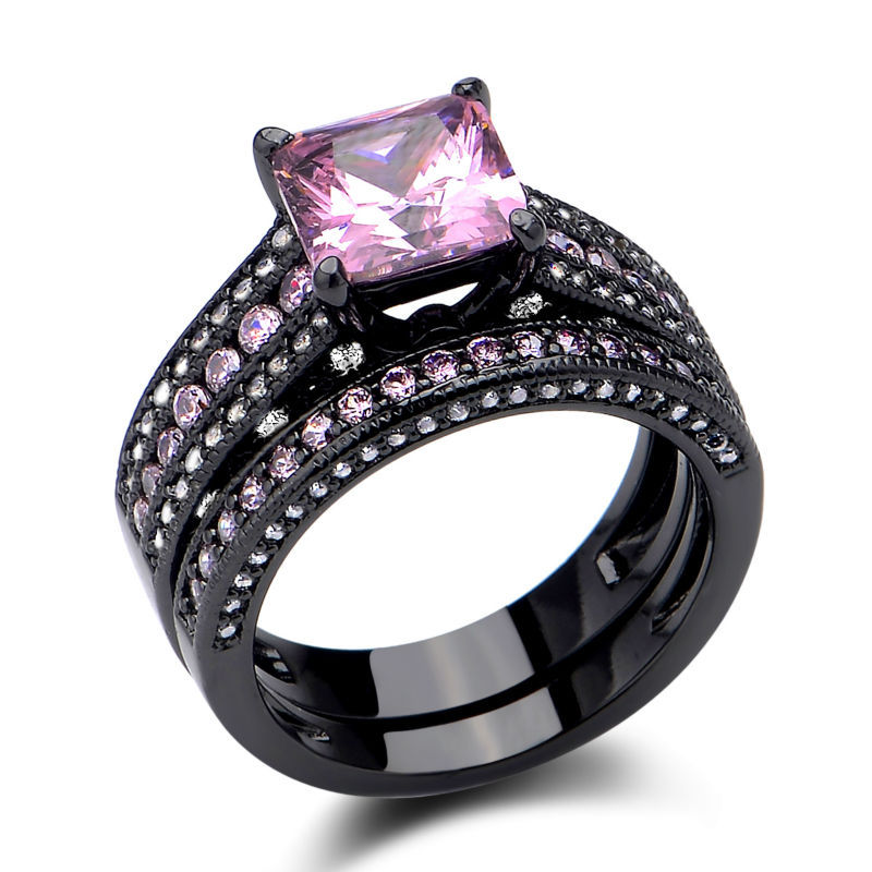 Hot 925 Sterling Silver Wedding Ring Sets Princess Cut Pink Sapphire Jewelry