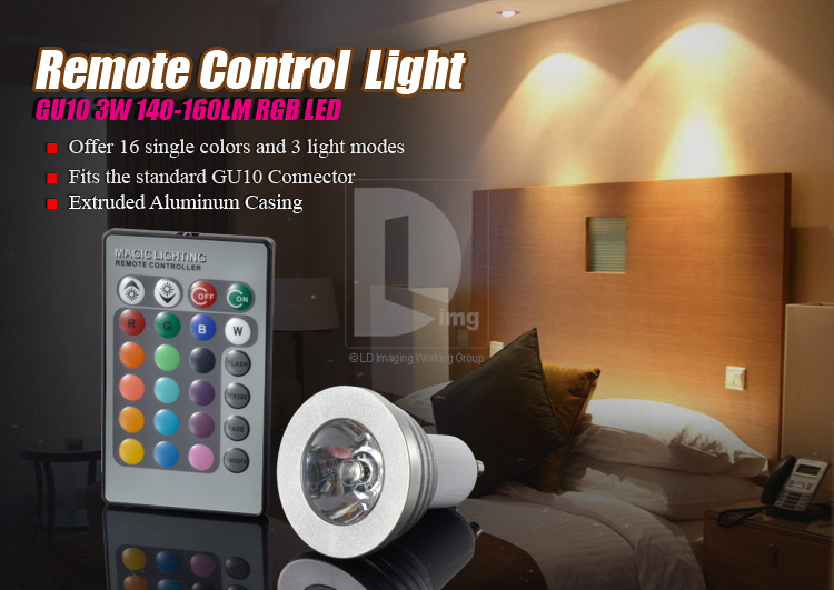 16 Color RGB GU10 3W LED Light Bulb Lamp Energy Saving Bottle Light 160LM 3 Model with Remote Control EL52 Free Shipping(China (Mainland))