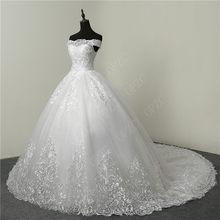 30% de Desconto de Luxo Bordado Do Laço 2018 Vestidos de Noiva 100 cm Long Train Querida Elegante Plus Size Vestido De Noiva vestido de Noiva(China)