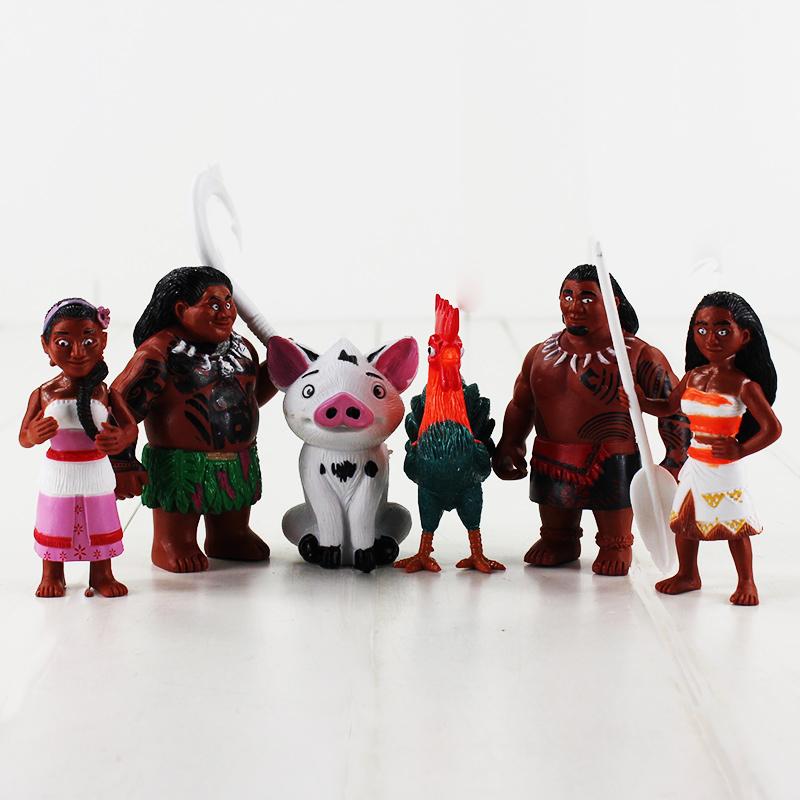 6pcs/set Princess Moana Dolls Maui Waialik Heihei Action Figures Toys