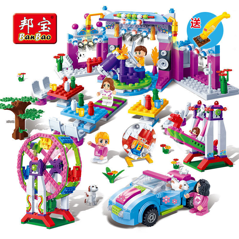 2016 NEW BANBAO Building Block Set Meili City Blocks Assembled Party Girl's Gift Carnival toys educational Christmas Gift(China (Mainland))