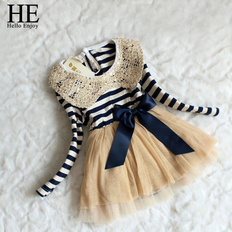 TuTu dress kids girls clothes Autumn 2016 Chiffon stripe girls sequin dress Collar Baby Girl Dress kids dresses for girls(China (Mainland))