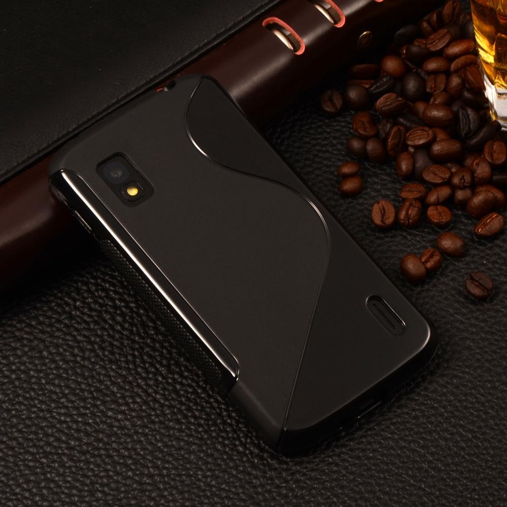 E960 S Line Anti Skid Gel Silicon Soft TPU Case For Google LG Optimus Nexus 4 E960 Mobile Phone Cover Back Protective Cases(China (Mainland))