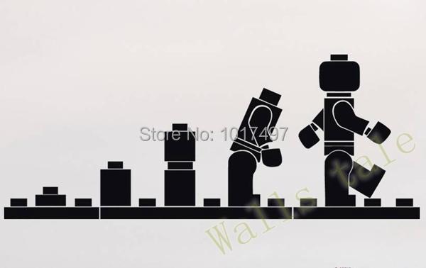 LEGO EVOLUTION Decal WALL STICKER ,Lego Wall Art Vinyl Stencil Kids Room Cartoon Decor ,K3315 free shipping(China (Mainland))