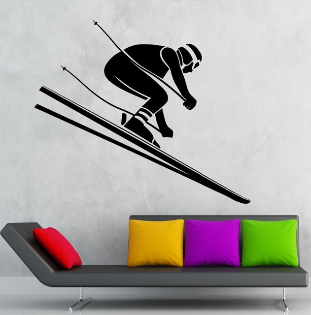 New arrival Skiing Sticker Winter Sports Decal Posters Vinyl Wall Decals home Decor Mural Skiing Sticker(China (Mainland))