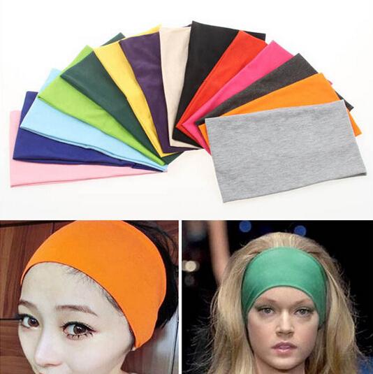 New 14 Colors Women Stretch Solid Headband Cotton Turban Sport Yoga Head Wrap Bandana Headwear Hair Accessories HG146(China (Mainland))