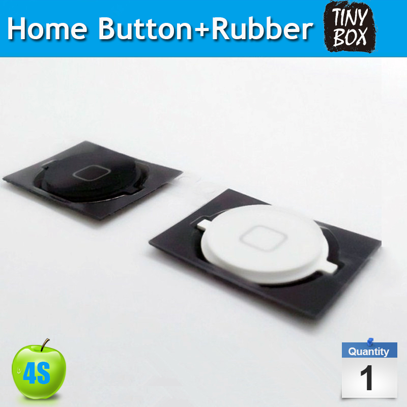 For Apple iPhone 4S Home Button Home Button+Rubber Gasket Cap+Mat Repair Parts Function Key Without Flex Cable(China (Mainland))
