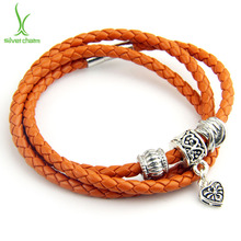 BISAER Genuine Leather Bracelets for Women Clasp Trendy Rope Chain Silver Plated Heart Charm Femme Bracelet amp Bangles Pulseras(China (Mainland))