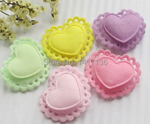 10pcs Two Layers Hearts Padded Felt Appliques Craft Ornament Upick(China (Mainland))
