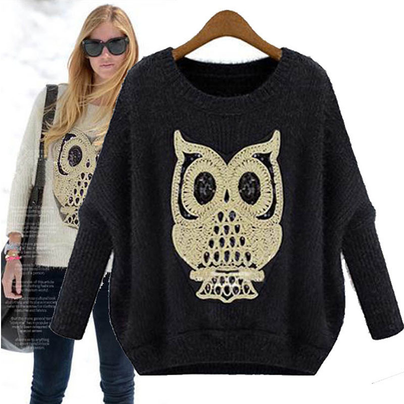 2015 new arrival sweater batwing sleeve loose casual women sweaters and pullovers animal appliques cute knitted jumpers on sale(China (Mainland))