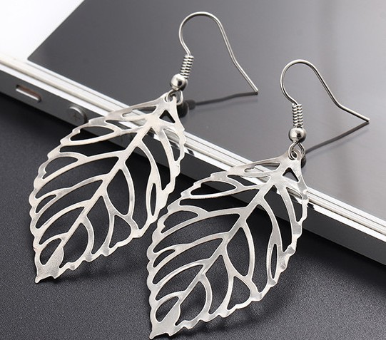 Star Jewelry wholesale for women 2015 new design fashion earring Alloy leaves Dangle Drop Earrings free shipping hot sale(China (Mainland))