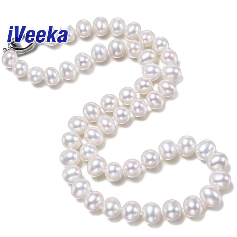 iVeeka 9~10mm Near Round White Pearls Choker Necklaces Classic Natural Pearl Bridal Fine Jewelry High Quality Best Gifts for Mom(China (Mainland))
