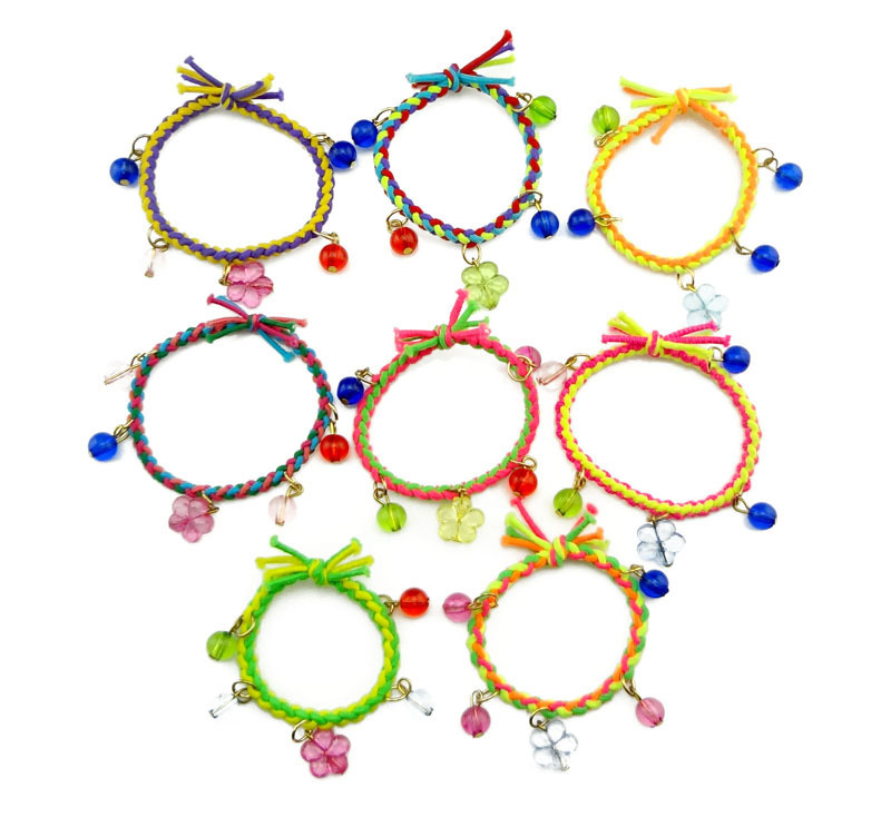 Wholesale 8PCs/Lot 2015 Rubber Hair Bands Holders Elastics Accessories Flower Ball Tassel Girls' Women Tie Gum Weaves Bracelet(China (Mainland))