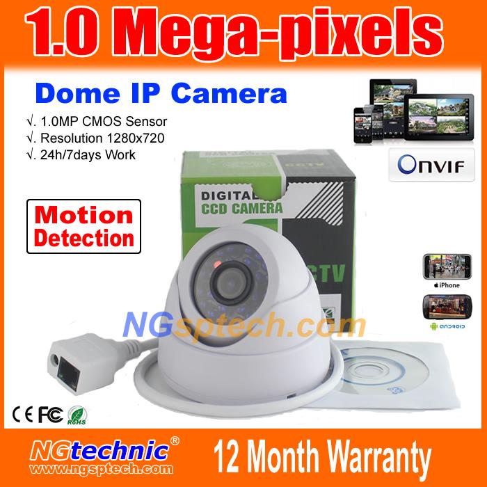 Free shipping! 1280x720 HD 24pcs IR LEDS ONVIF IR-Cut Night vision 720P Mega pixel indoor motion detection Network IP Camera(China (Mainland))