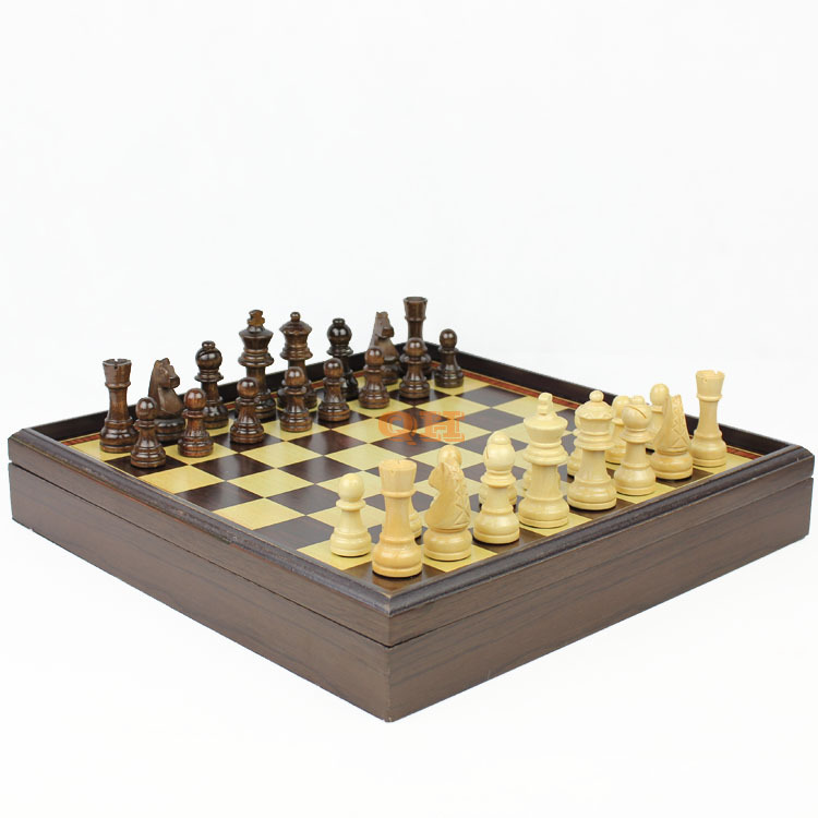 free shipping 2016 high quality Hot sale red dragon phoenix leather box wooden table Wooden chess 1 set(China (Mainland))