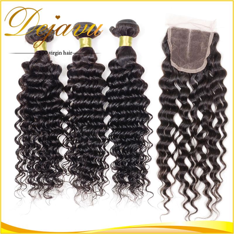 Aliexpress Brazilian Virgin Hair With Closure, Brazilian Deep Wave, 3 pcs Human Hair Weft With 1 pcs Lace Closure Free Shipping <br><br>Aliexpress