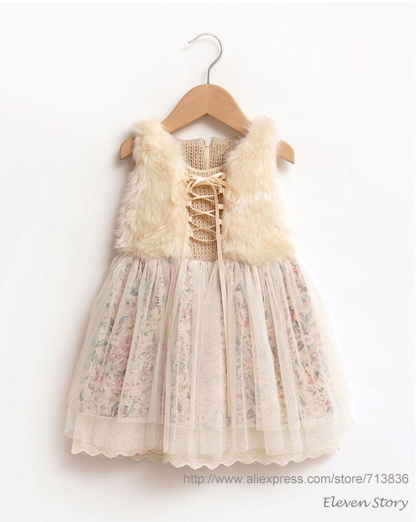 [Eleven Story] Girls winter floral dress baby kids new 2016 hot sell fur clothing Retail lace clothes ES12DS-86R(China (Mainland))