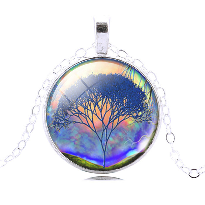 statement necklace art picture life tree necklace antique Bronze glass cabochon necklace pendant necklace women jewelry