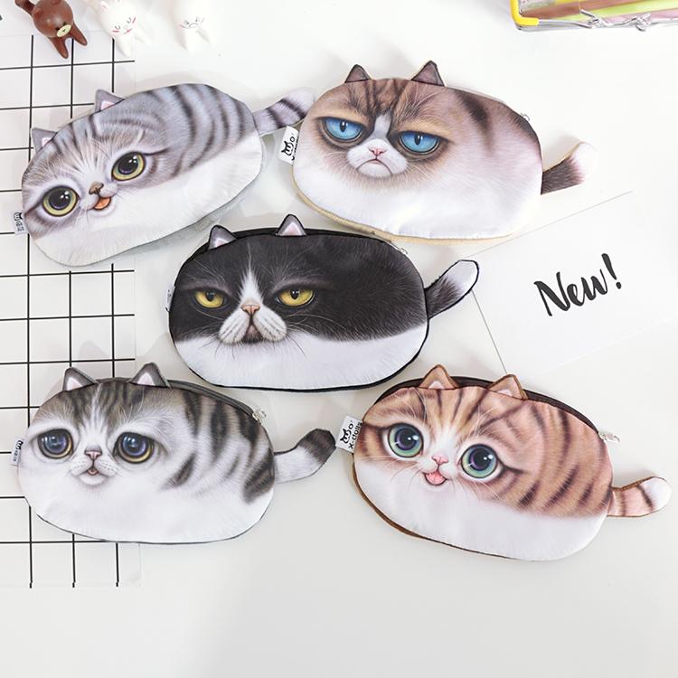 Cute Cats Zipper Pencils Bags Kawaii 3d Plush Pencil Case Stationery Pouch Makeup Bag Pen Box School Supply(China (Mainland))