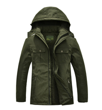 Winter Men Fleece Jacket Over Coat Warm Outdoor Cotton Padded Coat Hooded Male Army Green Clothes Outerwear Plus Size XL-7XL
