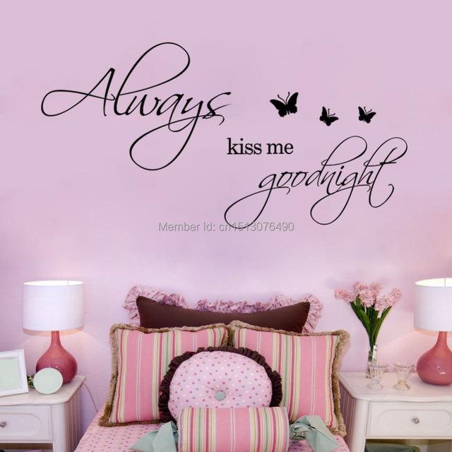 12 '' * 24 всегда поцелуй меня на ночь бабочки DIY съемный искусство винил цитата стикер стены наклейка дома настенной росписи украшения