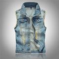 Brand New Over Sized Denim Vest For Men Jean Jacket Washed Blue Waistcoat 5XL 6XL Plus