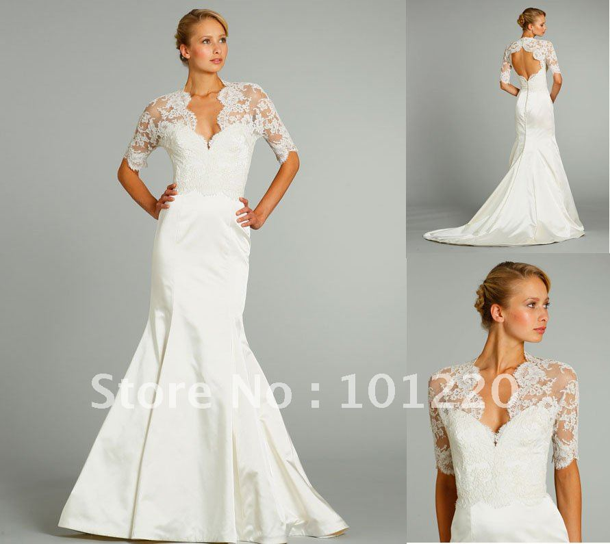 2012 fall satin trumpet lace bodice bridal gown three for Lace three quarter sleeve wedding dress