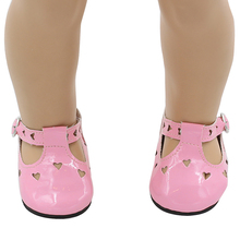 American Girl Doll Shoes Fits 18'' Doll Clothes Love Pink Leather Sandals Hollow Doll Accessories xie205(China (Mainland))
