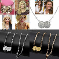 New Arrival Celebrity Lucky Double Coins Pendant Gold Plated/Silver Plated Chain Choker Necklace Gift Wholesales