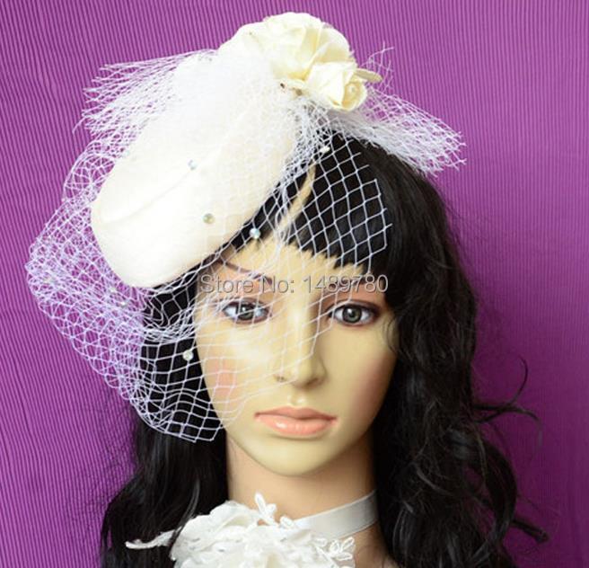 Women Wedding accessories Beautiful White Flower Bridal Hat Fascinator Bride Wedding Hats with Veil